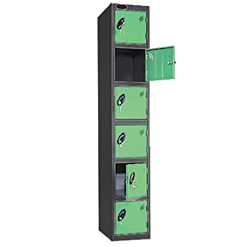 Lemon Door//Black Body - Choice of Size /& Colour 6 Door Metal Storage Locker Ref LK6S//33//LE//BK