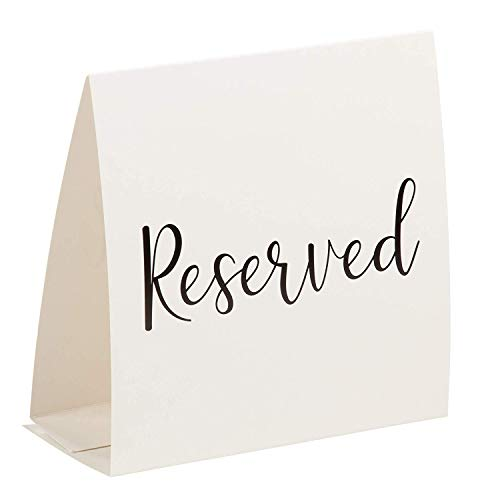 Juvale 50-Pack Reserved Table Signs - White Reserved Tent Cards with Large Text, VIP Seating Place Cards, for Weddings, Birthdays, Formal Party Supplies, Ivory White, Folded 5 x 2.25 -
