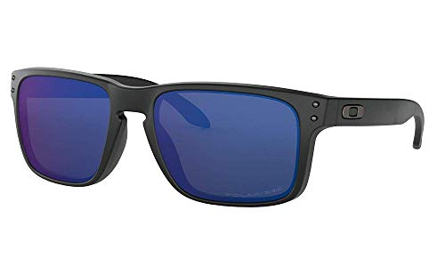 Oakley Men's OO9102 Holbrook Square Sunglasses, Matte Black/Ice Iridium Polarized, 57 ()