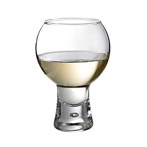 Qi Dye Kit - 330ml Bubble Base Wine Glass Short Stem Cup Cocktail Transparent Glasses Novelty Champagne Cups - Transparent