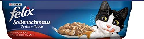 FELIX Soßenschmaus Katzenfutter nass in Sauce, mit Rind, 6er Pack (6 x 200g Schale)