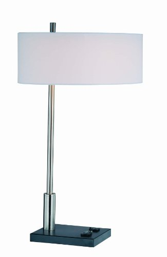 (Lite Source LS-21396 Funktions Table Lamp, Polished Steel And Black with White Fabric)