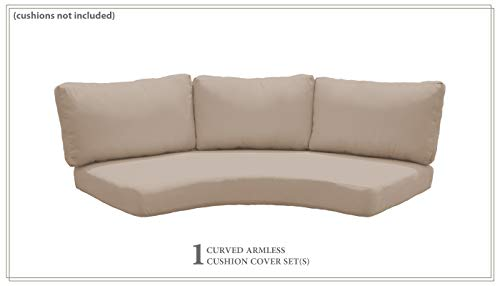 TK Classics Covers for High-Back Curved Armless Sofa Cushions 6 inches Thick in Wheat