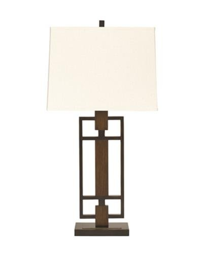 Ashley Furniture Signature Design - Omaris Table Lamp - Contemporary Metal and Wood - Set of 2 - Bronze (Contemporary Buffet Lamps)