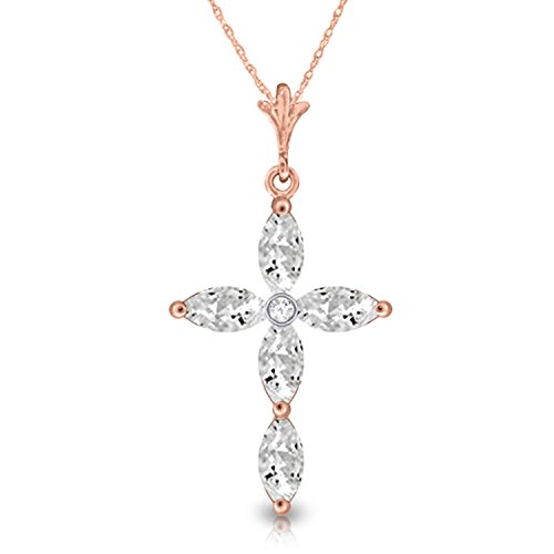 "1.23 Carat 14k 18"" Solid Rose Gold Necklace with Genuine Diamond and Natural White Topaz Cross Pendant"