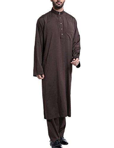 Zimaes Men Saudi Arabia Stand Collar Fine Cotton Muslim Salwar Suit Sets Coffee XL by Zimaes-Men (Image #1)