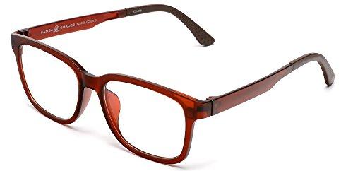 (Samba Shades Blue Blockers Computer Screen Glasses Anti Glare and Anti Scratch Break Resistant High Flexibility TR90 Matte Brown)
