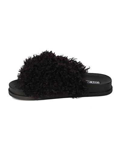 CAPE ROBBIN Women Footbed Slip on Sandal - Furry Slide - Molded Footbed Slipper - HK92 by Black Mix Media SttdlI
