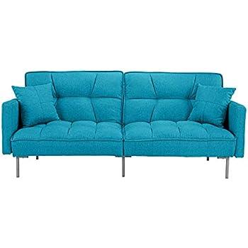 Divano Roma Furniture EXP54-3S-BLU Collection Futon, Small, Light Blue