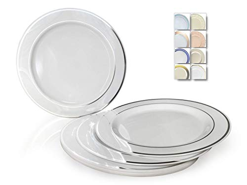 OCCASIONS 40 Plates Pack, Heavyweight Disposable Wedding Party Plastic Plates (6 Dessert/Bread Plate, White & Silver Rim)