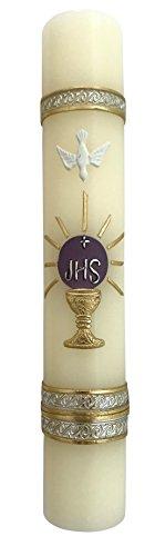 Angelitos de Mexico Purple Monstrance Lent Holy Spirit Candle JHS First Communion Vela Del Espiritu - Candle Holy Communion First