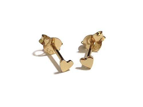 18 gauge (1mm) 925 Sterling Silver Post Earring Stud Cartilage Women Men Teen Girl Minimal Ear Stud Helix Simple Plain Small Heart 3mm (14k Gold Plated)