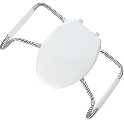 Bemis MA2100T 000 Medic-Aid Plastic Closed Front Toilet Seat with Cover and Safety Side Arms, Elongated, White by Bemis