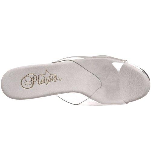 Pleaser SKY-301-3 - Sandalias de vestir para mujer Blanc/Transparent