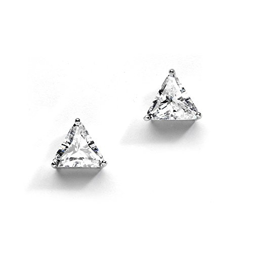 Mariell Cubic Zirconia Trillion Solitaire Stud Earrings. Unique Shape for
