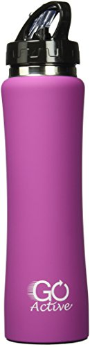 GO Active Stainless Steel Insulated with Flip Straw and Sweat-Proof Rubber Grip H2O Sports Drinking Bottle is BPA Free, Portable, Durable, Good for Kids, Keeps Ice Over 20 Hours, 17 oz, Pink
