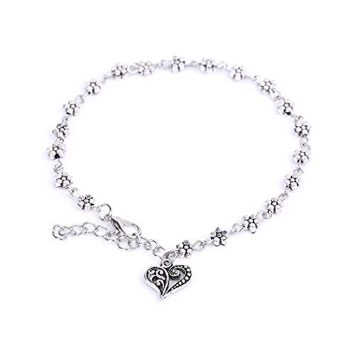 Aukmla Bead Anklet Beach Ankle Bracelet Foot Chain Barefoot Sandal Adjustable for Women and Girls (Daisy)