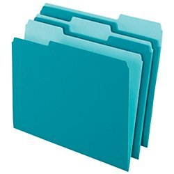 File Folder - Office Depot Two-Tone Color File Folders, 1/3 Tab Cut, Letter Size, Teal, Box Of 100, OD152 1/3 TEA