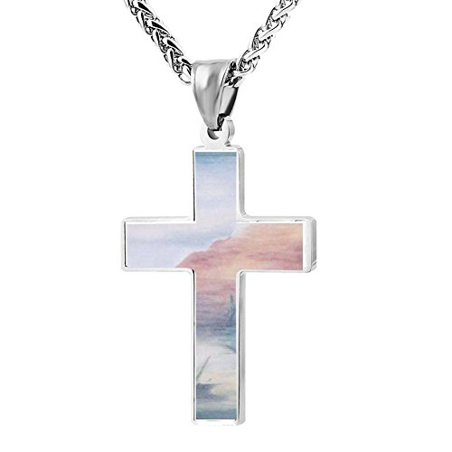 Gjghsj2 Cross Necklace Pendant Religious Jewelry CACTUS Mountain For Men Wome -