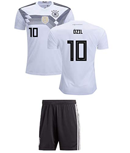 Panini Group Ozil #10 Germany Kids Soccer Jersey Kit Home Short Sleeve Youth Sizes Gift Set (YS (6-8 Years), Ozil #10)