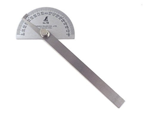 - Shinwa Japanese #19 Stainless Steel Protractor 0-180 degrees with Round Head