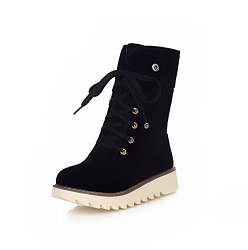 Allhqfashion Women's Round Closed Toe Low-top Low-Heels Solid Imitated Suede Boots Black zgJetJCpkW