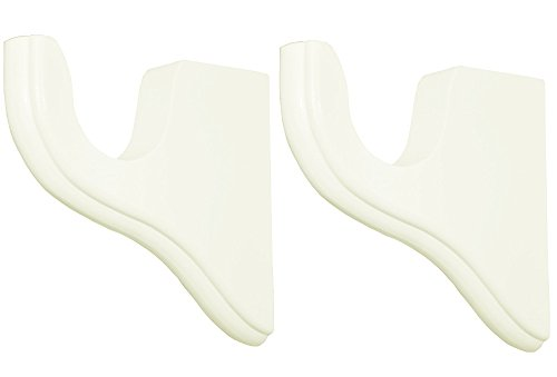 White Wood Pole Curtain Rod Brackets-1 Pair (For 2