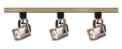 Nuvo Lighting TK347 3-Light 50-Watt MR16 Square Head Track Light Kit, Brushed (Brushed Nickel Short Ceiling Light)