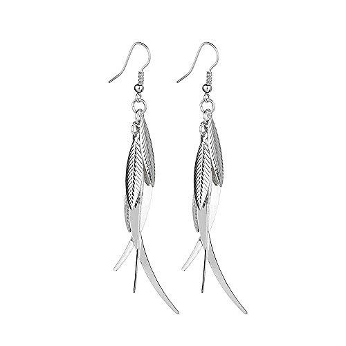 ocean gift Silver Layered Tassel Earrings Summer Forest Dangle Drop Tiered Tassel Earrings Valentine's Day (Silver)