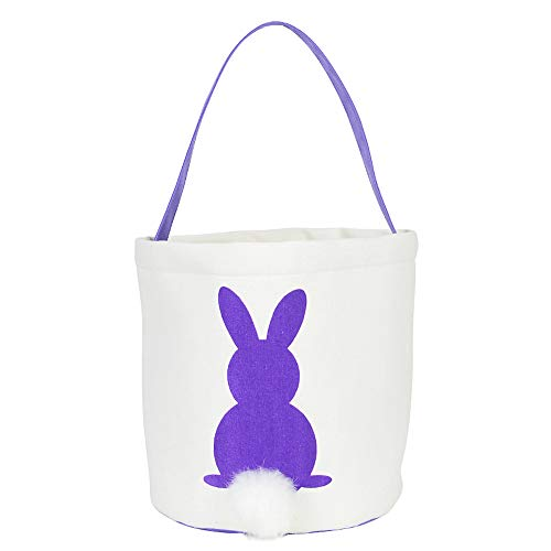 DJT Easter Bunny Basket Bags - Easter Baskets for Kids - Bunny Tote Bag Bucket for Easter Eggs, Toys, Candy, Gifts Purple-04]()