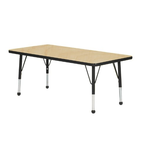 Mahar Kids 36'' X 60'' Rectangle Table Top Color: Maple, Edge Color: Tan, Leg Height: Standard 21''-30'', Glide Style: Self-Leveling Nickel by Mahar