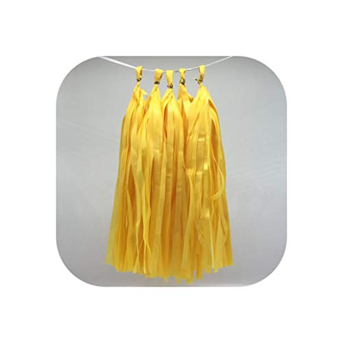 MUZIBLUE 5pcs 14inch Gold Silver Tissue Paper Tassel Baby Shower Paper Craft Suppliesation Birthday DIY Hanging Supplies,Yellow]()