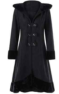 Zantt Women Winter Double-Breasted Hooded Wool Blend Long Trench Coat