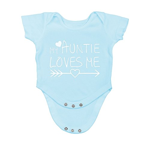 My Auntie Loves Me - Funny for Nephew Niece Infant Creeper, One-Piece Baby Bodysuit (12 Months, Light Blue)
