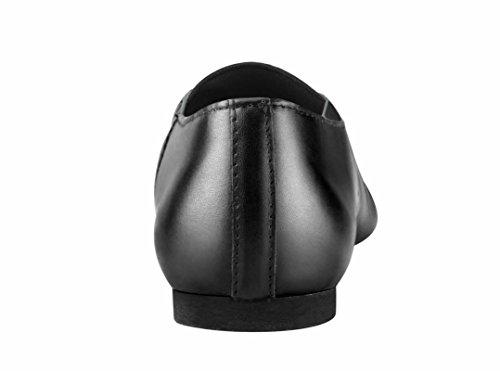 Linodes Damen Leder Upper Jazz Schuh Slip-On mit elastischen oberen Stück Schwarz