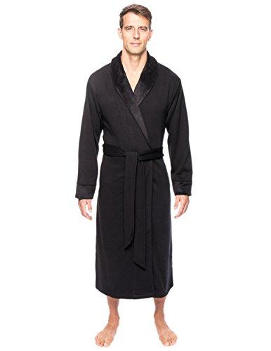 Noble Mount Men's Super Soft Brushed Robe - Black - 2XL/3XL