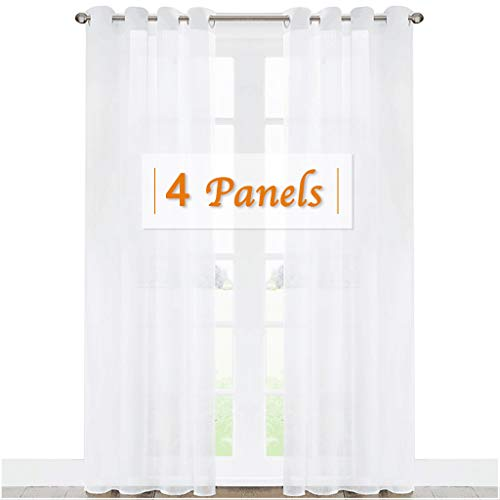 84l Panel (RYB HOME Decoration White Sheer Curtains Set, High Density Fabric Anti-Rust Grommet Top Voile Window Panels for Bedroom/Nursery, 54 W x 84 L inch Per Panel, 4 Panels)
