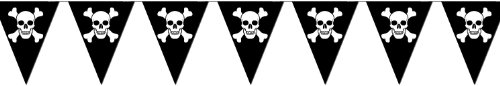 Flags Pennant Pirate (Beistle 50537 Jolly Roger Pennant Banner, 10-Inch by)