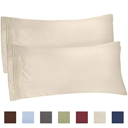 CGK Unlimited Beige Pillow Cases - King Size Set of 2 - Soft and Comfortable - Fits 20x40 20x36 20x48 - Two Pack - Pillow Cover Insert