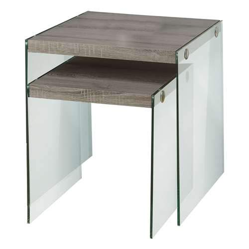 (Monarch Specialties I 3053,Nesting Table, Tempered Glass, Dark Taupe)