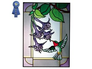 (Hummingbird in Border, Vertical Painted Art Glass Panel )