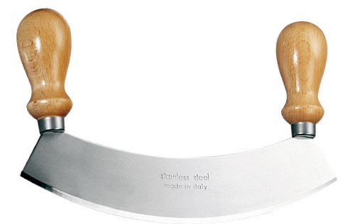 Stainless Steel Mezzaluna (Eppicotispai Stainless Steel Mezzaluna Chopper/Mincer with Wooden Handle, 10-Inch)