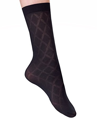 INTRIGUE Women's Sheer Trouser Socks - 4 Black Pairs - High Nylon Dress Socks