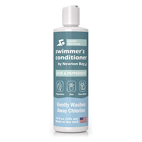 Newton Bay Swimmer's Conditioner [12oz, Peppermint] Chlorine Removal & Swimming Pool Protection for Healthy Post Swim Hair