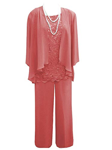Women's 3 Pieces Lace Chiffon Mother of Bride Dress Pant Suits with Jacket Outfit for Wedding Groom(US 16, Coral)