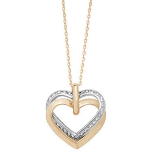 Collier Femme-Or 9carats-Double Coeurs-Oxyde de zirconium
