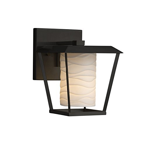 - Limoges - Patina Small 1-Light Outdoor Wall Sconce - Cylinder with Flat Rim Translucent Porcelain Shade with Waves Design - Matte Black Finish - LED