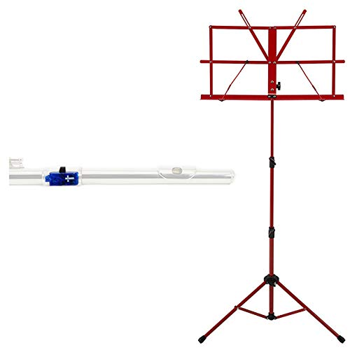 (Lighted Flute Fun Pack - Clip-On Blue Cross Illuminated flute Light + Red Music Stand)