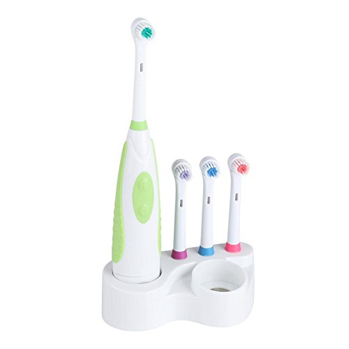 (Electric Toothbrush Battery Power Round Brush Head Travel Electronic Whitening Cleaning Tooth Oral Care 3 Replacement heads(Green))