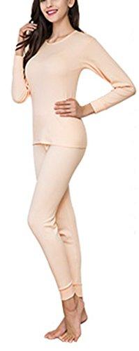 Respeedime Ultra Soft Thermal Underwear Women Set Top & Bottom Round Neck Sweater Beige L